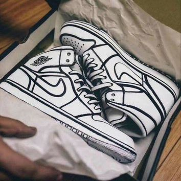 Air Jordan 1 Comics 3D Pencil Graffiti Fashion Women Men Personality High Help Sneakers Sport Shoes I