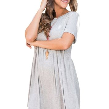B| Chicloth Gray Short Sleeve Pullover Babydoll Style Casual Dress