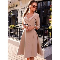 Fall 2017 Fashion Women Office Dress Autumn Winter Vintage Prom Party Dresses High Quality Casual Plus Size Women Clothing