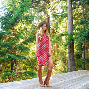 Indian Tunic Dress, Rust Red Block Print Cotton Caftan, Indian Gauze Dress, Hippie Ethnic Midi Dress Boho Hippie Summer Festival Dress SMALL