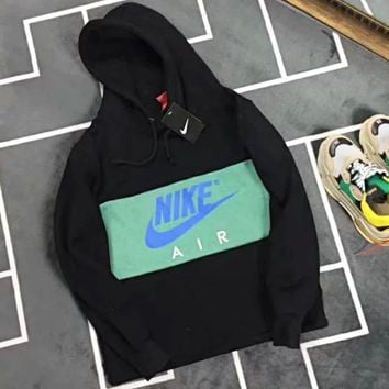 NIKE Air New Fashion High quality Bust Letter Print Women Men Hooded Top Long Sleeve Sweater Black