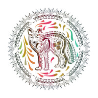 Ornate Fox Hex Wall Decal