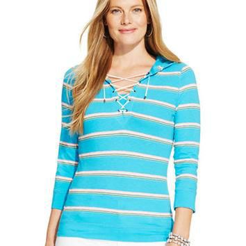 Lauren Ralph Lauren Plus Serape-Striped Lace-Up Hoodie Top