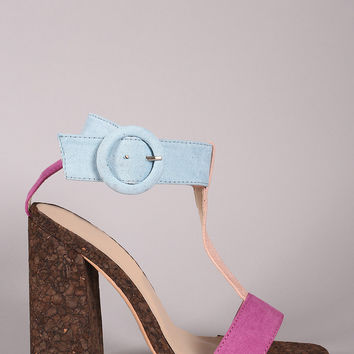 Color Block T Strap Chunky Cork Heel