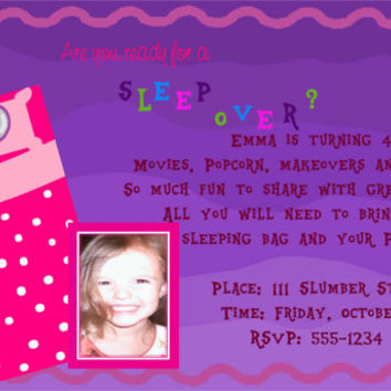 Girl's Sleepover Party Invitation