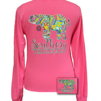Girlie Girl Originals Southern Aztec Happy & Preppy Elephant Long Sleeve T Shirt