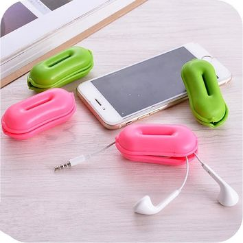 2PCS Earphone Line Silicon Organizer Box Data Line Cables Storage Box Case Container Headset Wire Take-up Reel Winder Boxes
