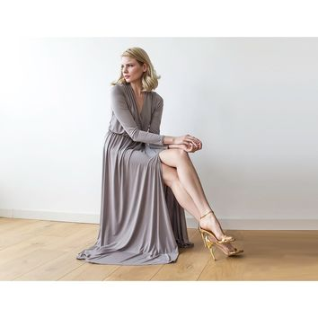 Taupe long sleeve maxi wrap dress with high slit 1045