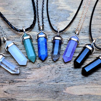 8 Colors Pointed Healing Crystal Rock Pendant Boho Grunge Spiritual Witch Hippie Customize Tattoo Choker Chain Necklaces