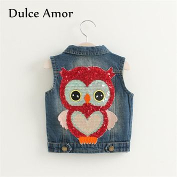 Trendy Dulce Amor Kids Denim Vest Girls Boys Clothes 2017 Autumn Cowboy Waistcoats Sleeveless Sequined Owl Jacket Coat Outerwear AT_94_13