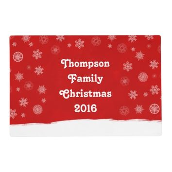 Snowflakes Holiday Design with a Red Background Placemat