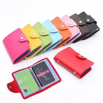 Fashion Credit Card Holder Men Women Travel Cards Wallet PU Leather Buckle Business ID Card Holders Popular
