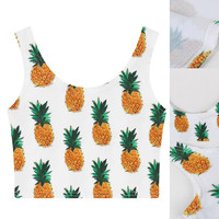 White Pineapple Fruit Sleeveless Crop Tank Top