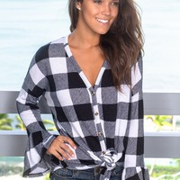 Black and White Plaid Oversized Top