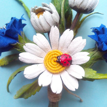 Jewelry brooch, jewelry leather flower brooch, jewelry for mom, jewelry for girls, jewelry handmade
