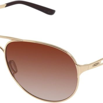 Oakley Women's Caveat Aviator Sunglasses,Polished Gold Frame/Dark Brown Gradient