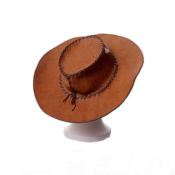 Vintage 70s Hippie Leather Hat 1970s Boho Artisan Handcrafted Wide Brim Woodstock Hat