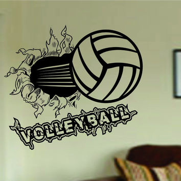 Volleyball Bursting Through Wall with Word Vinyl Wall Decal Sticker Art Sport