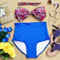 Floral Bow High Waist Swimsuit - Floral Top & Blue Bottom - Smoky Mountain Boutique