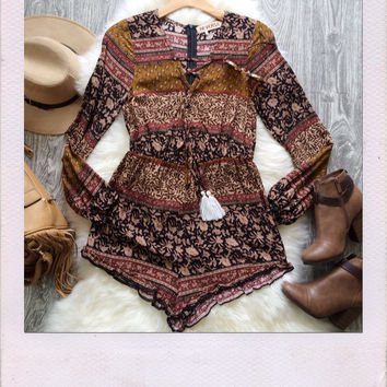Home For The Holidays Playsuit- Brown {Boutique Collection}