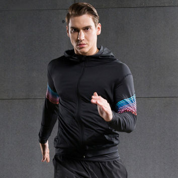 2016 Pro Streamers Dry Fit Compression Hooded Jacket For Men Long Sleeve Sports Gym Fitness Athletics Jogging Jacket With Hoods