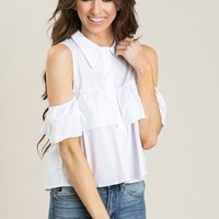 Brynn White Cold Shoulder Ruffle Button Up Shirt