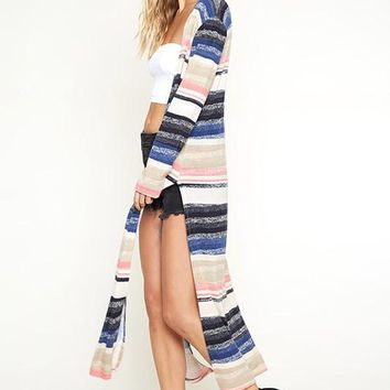 As We Agreed Striped Long Cardigan (Mauve/Blue)