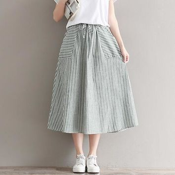New Summer Women Midi Saia Skirt with Pockets Japanese Mori Girl Blue/Green Stripe Cotton and Linen Long Vintage Skirts