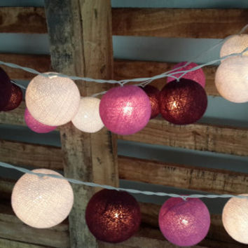 20 cotton ball baby Purple shaded string light lantern hanging patio home night decoration rustic