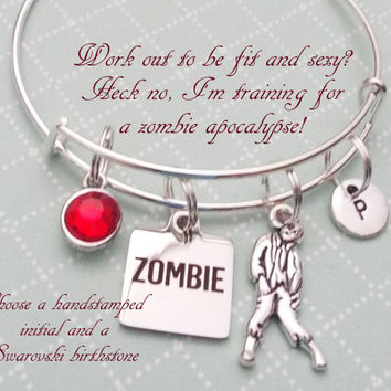 Zombie Bracelet, Gift for Best Friend, Zombie Apocalypse Partner Gift, The Walking Dead Inspired Gift, Best Friend Gift, Personalized Gift