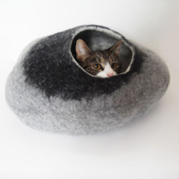 Cat Bed Cat Cave Cat House Felted Wool with FREE Cat Ball - Medium or small