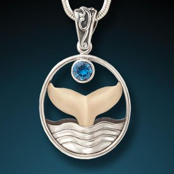 """""""Whale Song"""" Fossilized Walrus Tusk Blue Topaz and Sterling Silver Pendant"""