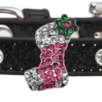 Holiday Charm Dog Collar Black Ice Cream Size 8 Pink Stocking