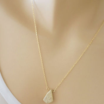 Drop Gemstone Gold Necklace, Layered Gold Filled Necklace, Stone Bar Necklace, Pebble / Dainty / just1gold Everyday Jewelry