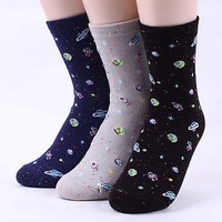 REAL SPACE Socks (4-Pack) Galaxy Interstellar Satellite Stars Moon Socks  EJ