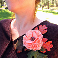 Autumn Flower Brooch Pin in Peach and Gold