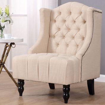 Giantex Modern Tall Wing Back Tufted Accent Armchair Fabric Vintage Living Room Sofa Chair Nailhead Beige Furniture HW57313BE