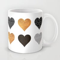 Gold, black, white hearts Mug by Maria Kritzas