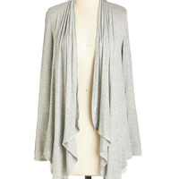 ModCloth Long Long Sleeve So Very Classic Cardigan in Grey