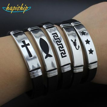 Hapiship 2017 Silicone Stainless Steel Cross Love Fish Star Bracelet Bangle For Men Women Black Wristband Cool Jewelry GJ012