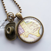 Map of Texas Jewelry - Map Pendant Necklace - Custom Jewelry - Travel Necklace - You Choose Bead and Charm - Customizable - United States