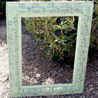 Wood Frame Vintage Pistachio Green Old World by ReVampeDesigns