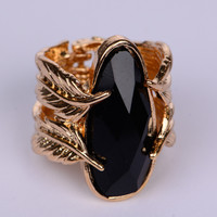 Double Leaf Ring, Gold/Black