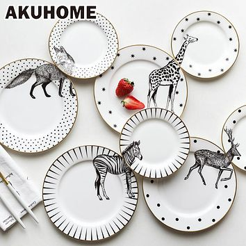 2 Pcs 6&8 Inch Animal Combined Plates Set Ceramic Plates Fox Elk Giraffe Zebra Pattern Plates Steak Breakfast Cake Fruits Dish