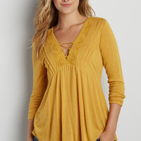 tee with lace up v-neckline and crochet inlay | maurices
