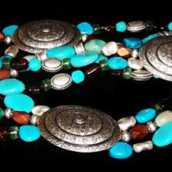 """Turquoise Glass Bead Belt Silver Conchos South Western Style 50"""" L Vintage 1980s"""