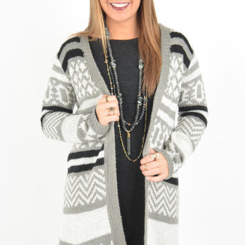 Long Grey, White and Black Striped Cardigan with Open Front