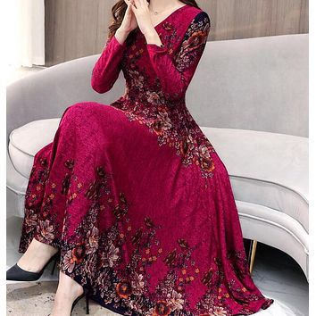 Fashion V Collar Flower  Printed Long Sleeve dress