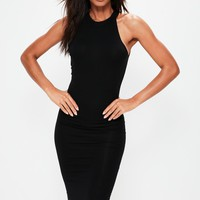 Missguided - Black Racer Neck Bodycon Midi Dress