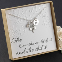 RN Registered Nurse Necklace  - Sterling Silver Initial Charm, Pearl or Birthstone
